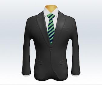 グレースーツとストライプネクタイの着こなし