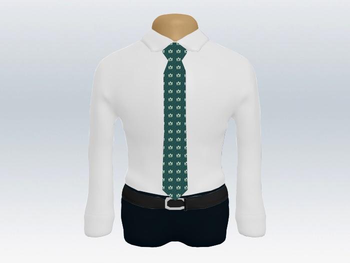 白ワイシャツダークグリーン小紋ネクタイ