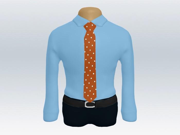 青ワイシャツオレンジドットネクタイ