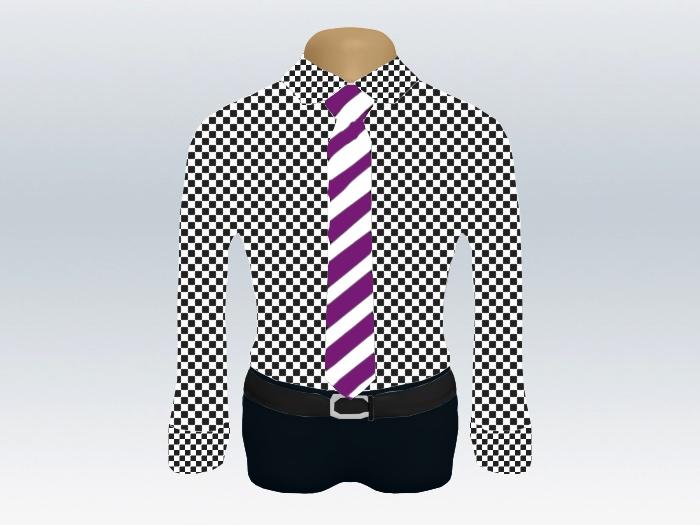 チェックシャツ紫白ストライプネクタイ