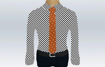 チェックシャツオレンジドットネクタイ