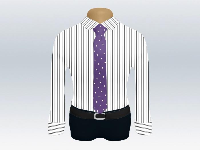ストライプシャツ紫ドットネクタイ
