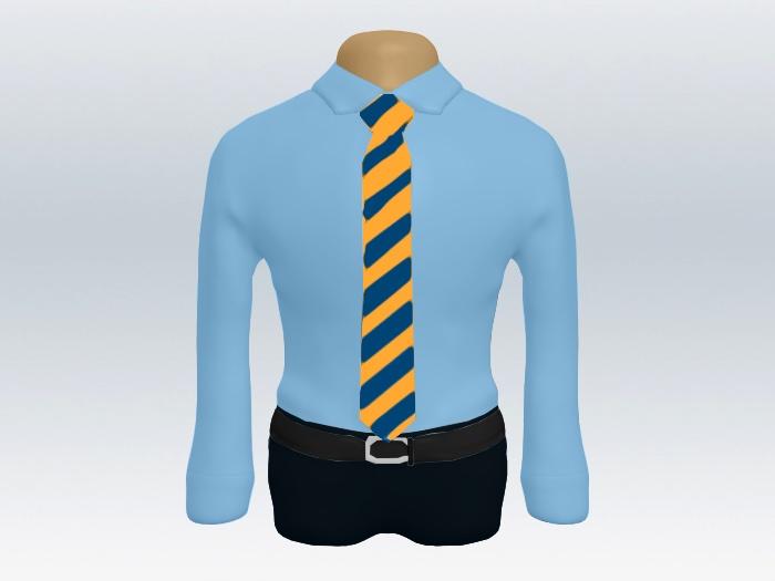 青ワイシャツイエローブルーストライプネクタイ