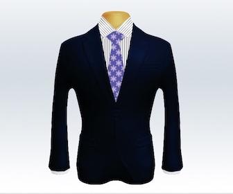ダークネイビースーツと小紋柄ネクタイの着こなし