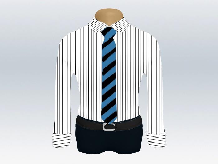 ストライプシャツ青黒ストライプネクタイ