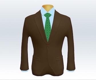 ブラウンスーツと小紋柄ネクタイの着こなし