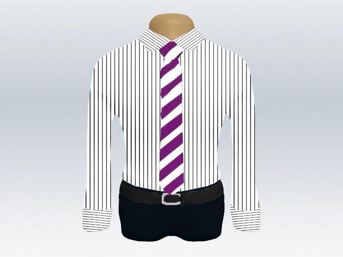 ストライプシャツ紫白ストライプネクタイ