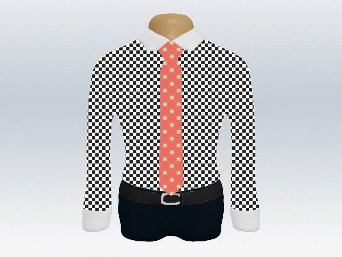 チェッククレリックシャツピンク小紋柄ネクタイ