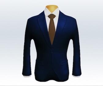 ネイビースーツと無地ネクタイの着こなし