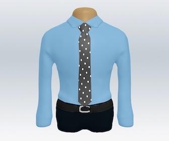 青ワイシャツとドット柄ネクタイの着こなし
