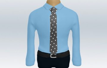 青ワイシャツグレードットタイ