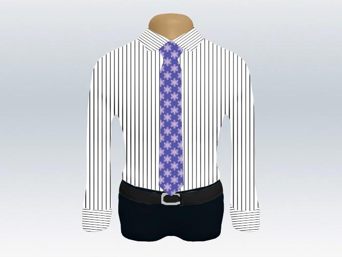 ストライプシャツ紫小紋柄ネクタイ
