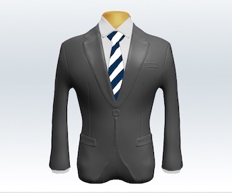 ライトグレースーツとストライプネクタイの着こなし