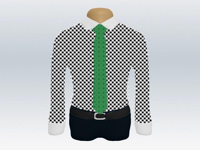 チェッククレリックシャツグリーンビジネス小紋柄ネクタイ