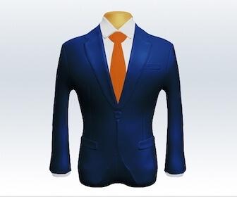 無地ネクタイとライトネイビースーツの組み合わせ