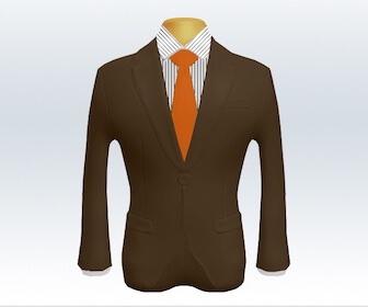 無地ネクタイとブラウンスーツの組み合わせ
