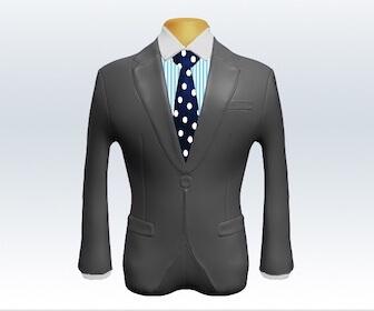 ドット柄ネクタイとライトグレースーツの組み合わせ
