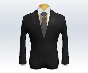 無地ネクタイとチャコールグレースーツの組み合わせ