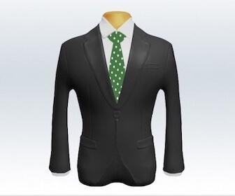 ドット柄ネクタイとグレースーツの組み合わせ