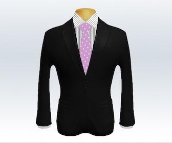 ドット柄ネクタイと黒色スーツの組み合わせ