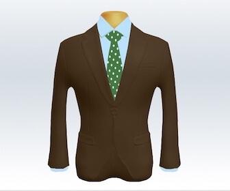 ドット柄ネクタイと茶色スーツの組み合わせ
