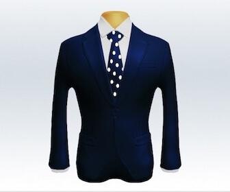 ドット柄ネクタイとネイビースーツの組み合わせ