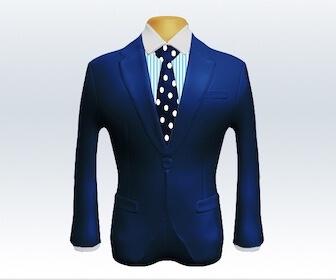 ドット柄ネクタイとライトネイビースーツの組み合わせ