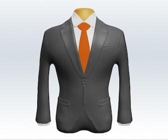 無地ネクタイとライトグレースーツの組み合わせ