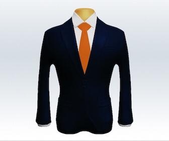 無地ネクタイとダークネイビースーツの組み合わせ