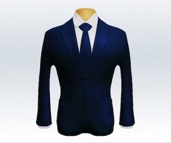 無地ネクタイとネイビースーツの組み合わせ