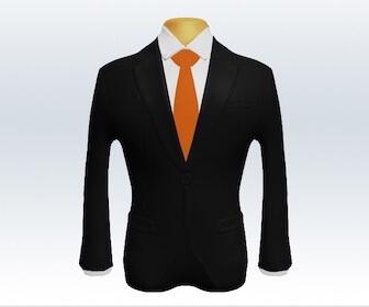 無地ネクタイとブラックスーツの組み合わせ