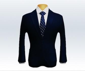 ドット柄ネクタイとダークネイビースーツの組み合わせ