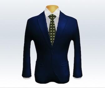 小紋柄ネクタイとネイビースーツの組み合わせ
