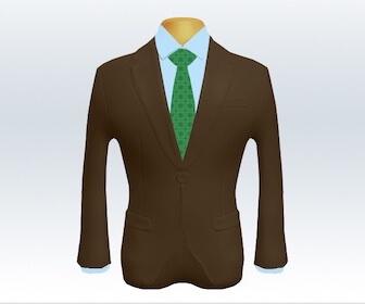 小紋柄ネクタイとブラウンスーツの組み合わせ