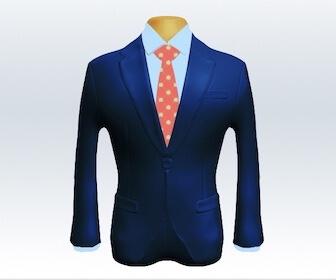 小紋柄ネクタイとライトネイビースーツの組み合わせ