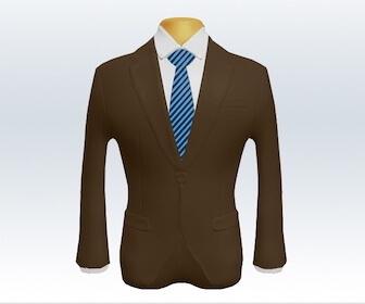 ストライプネクタイとブラウンスーツの組み合わせ