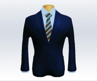 ストライプネクタイとネイビースーツの組み合わせ