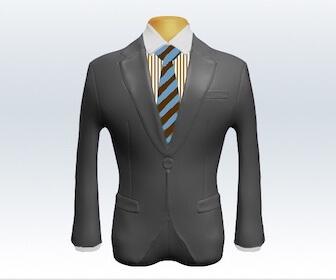 ストライプネクタイとライトグレースーツの組み合わせ