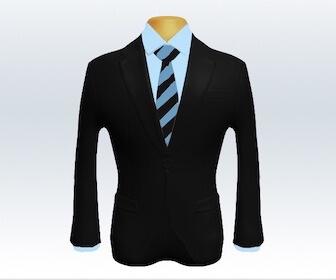 ストライプネクタイとブラックスーツの組み合わせ