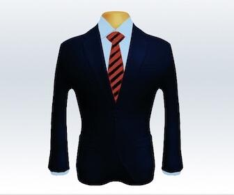 ストライプネクタイとダークネイビースーツの組み合わせ