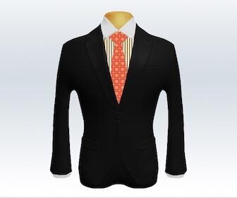 小紋柄ネクタイとブラックスーツの組み合わせ