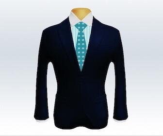 小紋柄ネクタイとダークネイビースーツの組み合わせ